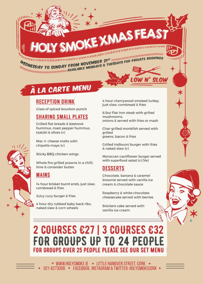 Holy Smoke Christmas Menu Option 2